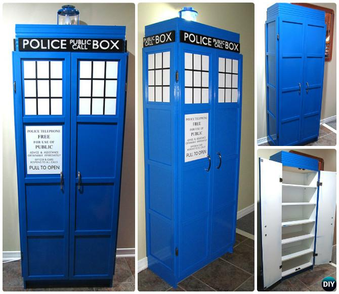 DIY Cabinet Tardis Bookshelf Instructions Ideas Free Plan