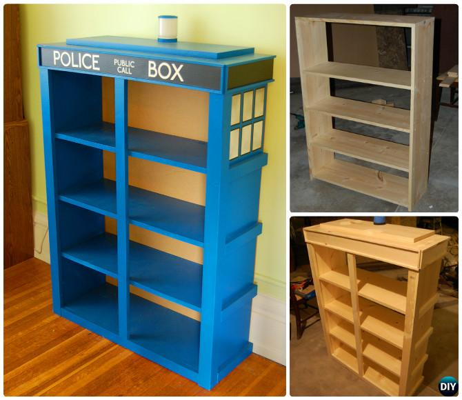 How to Build Wood Tardis Bookshelf Instructions-Tardis Bookshelf Ideas Free Plan