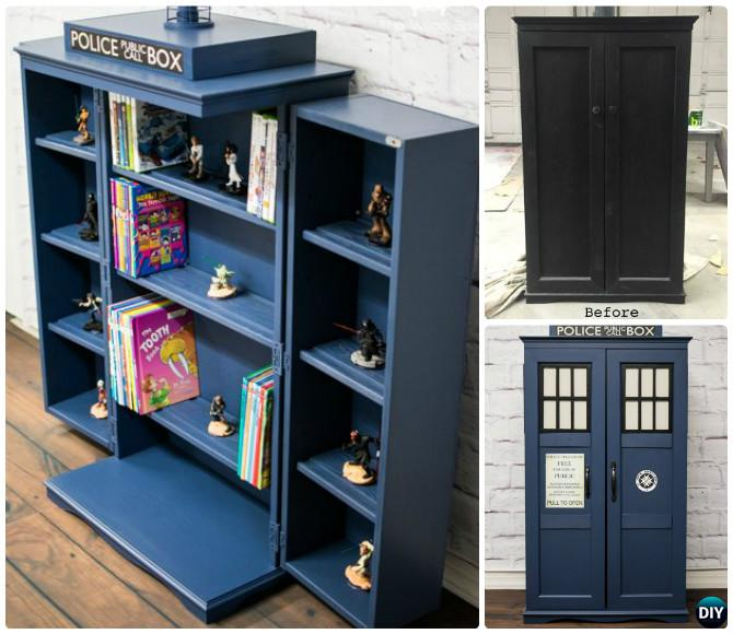 DIY Cabinet Tardis Bookshelf Media Storage Instructions Ideas Free Plan
