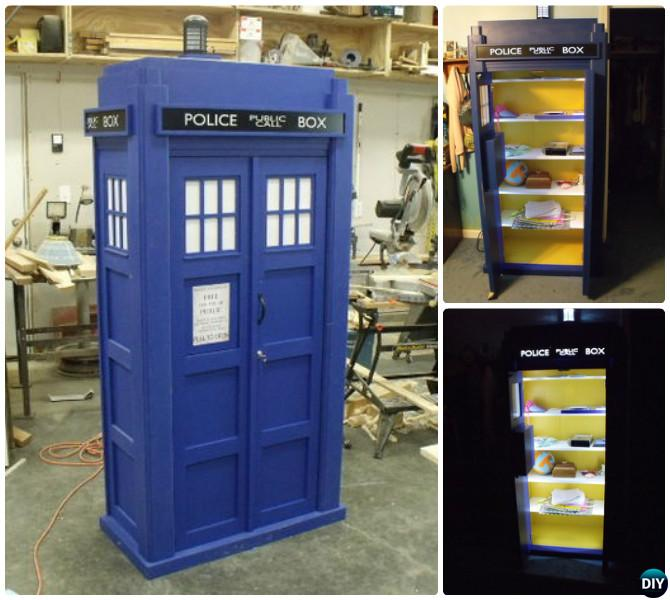 How to Build Wood Tardis Bookshelf With Sound Light Instructions-Tardis Bookshelf Ideas Free Plan