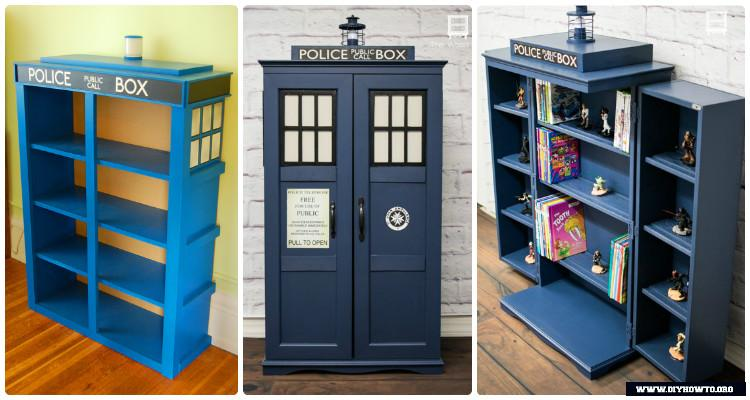 DIY Tardis Bookshelf Projects [Picture Instructions]
