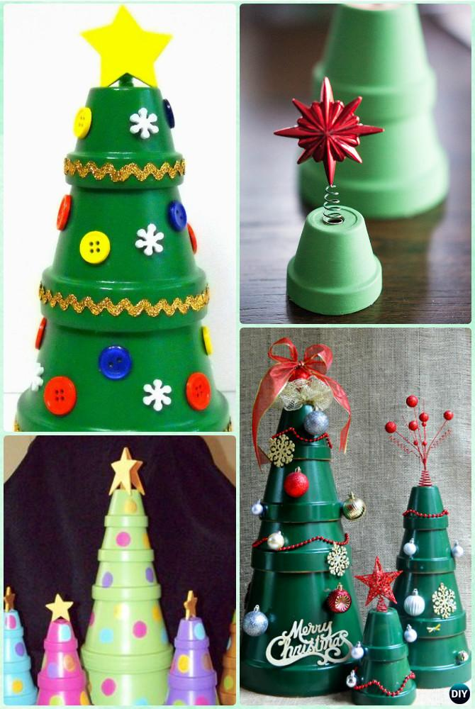DIY Clay Pot Christmas Tree Instruction - DIY Terra Cotta Clay Pot Christmas Craft Ideas & DIY Terra Cotta Clay Pot Christmas Craft Ideas Holiday Decoration
