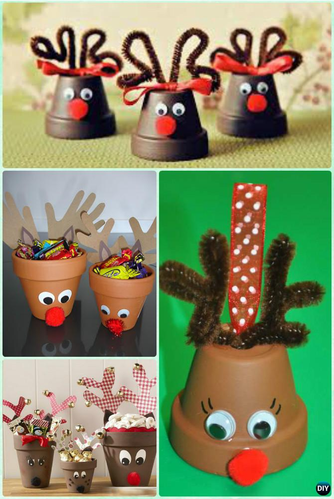 Diy terra cotta clay pot christmas craft ideas holiday for Art and craft pot decoration