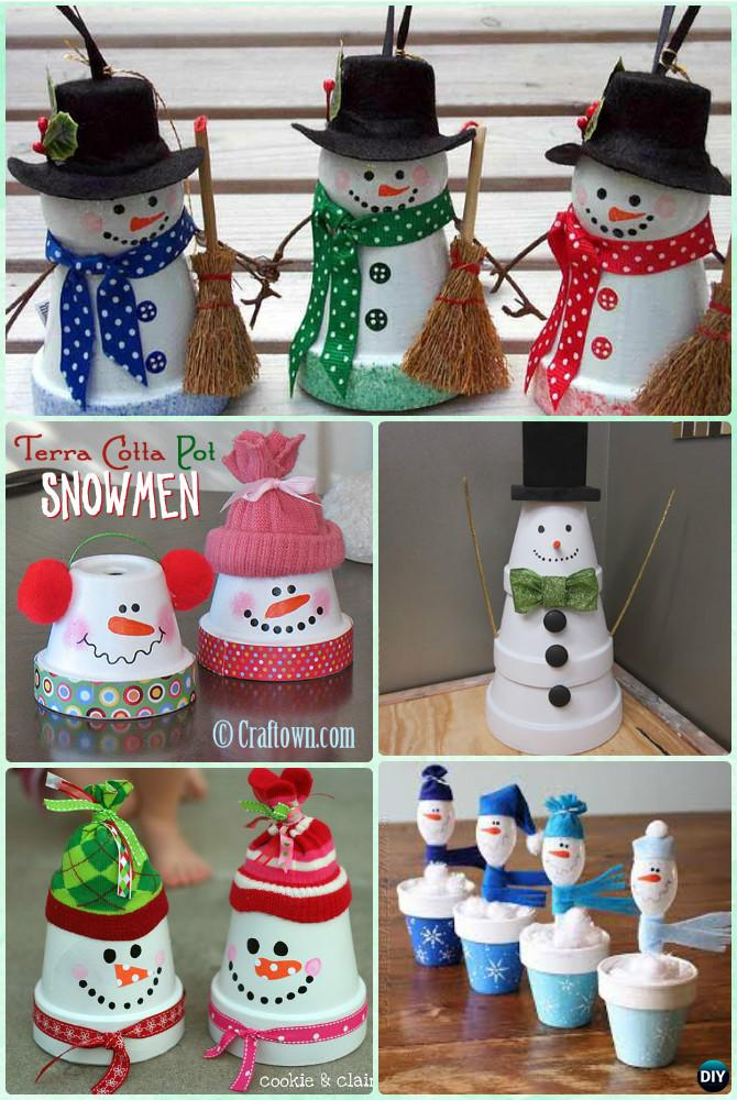 Diy Christmas Craft Ideas Part - 41: DIY Clay Pot Snowman Instruction - DIY Terra Cotta Clay Pot Christmas Craft  Ideas