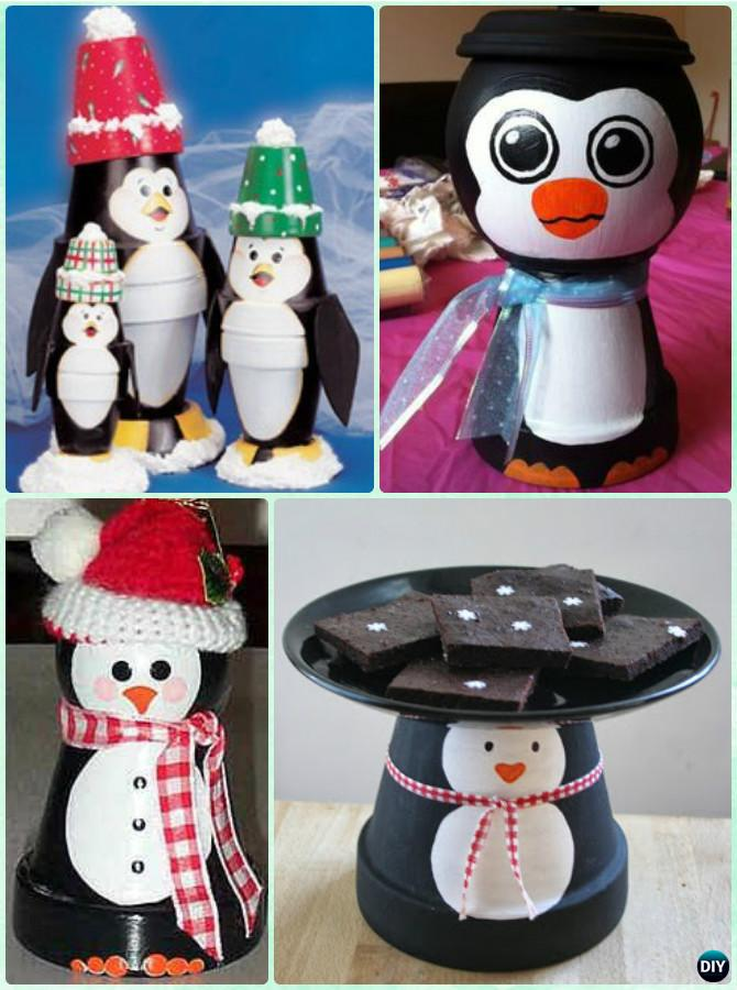 DIY Clay Pot Penguin Instruction - DIY Terra Cotta Clay Pot Christmas Craft Ideas