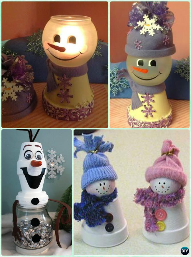 DIY Clay Pot Snowman Light or Candy Dish Instruction - DIY Terra Cotta Clay Pot Christmas Craft Ideas