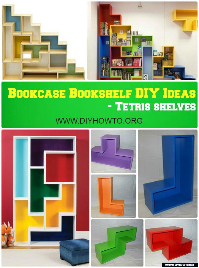 DIY Tetris Shelf Bookcase Instruction Free Plan