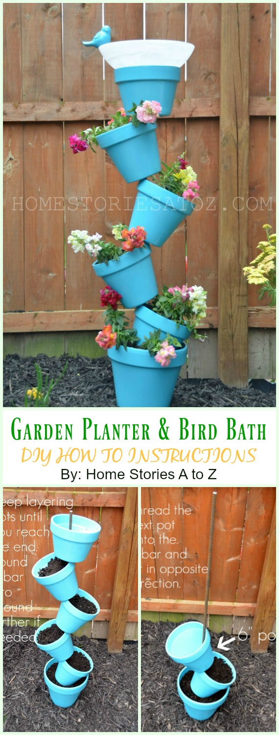 Flower Pot Garden Planter and Bird Bath DIY Instruction - DIY Tipsy #Vertical Pot Planter DIY Projects & Instructions #Gardening