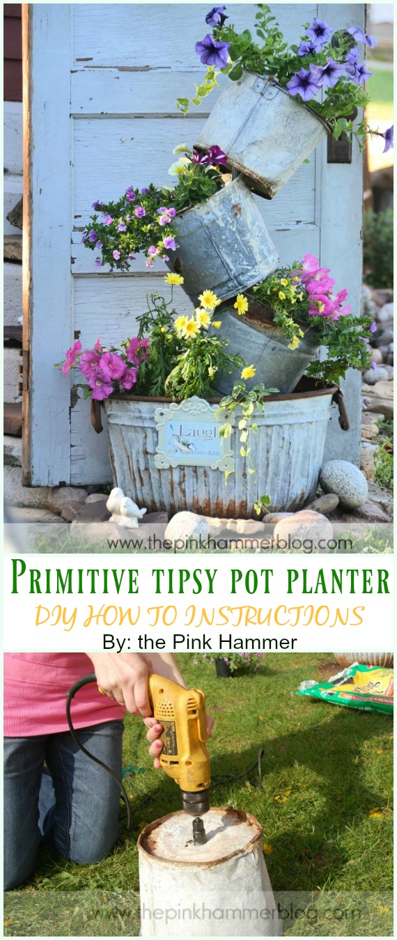 Rustic Primitive tipsy pot planter DIY Instruction - DIY Tipsy #Vertical Pot Planter DIY Projects & Instructions #Gardening