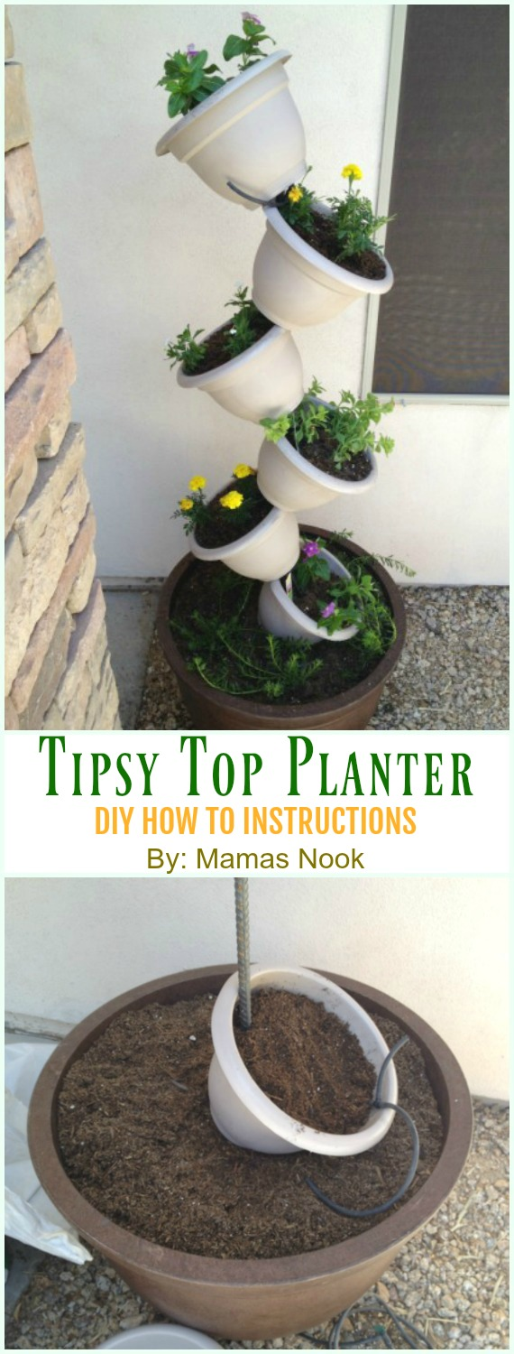 Tipsy Top Planter DIY Instruction - DIY Tipsy #Vertical Pot Planter DIY Projects & Instructions #Gardening