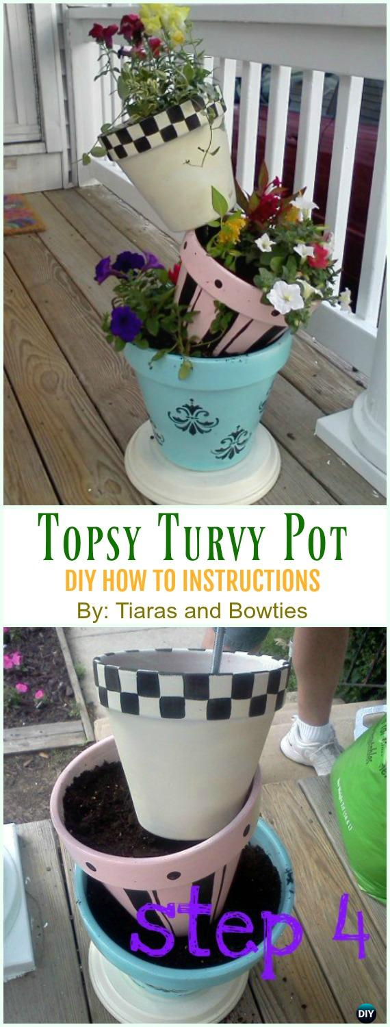 Topsy Turvy Pot DIY Instruction - DIY Tipsy #Vertical Pot Planter DIY Projects & Instructions #Gardening