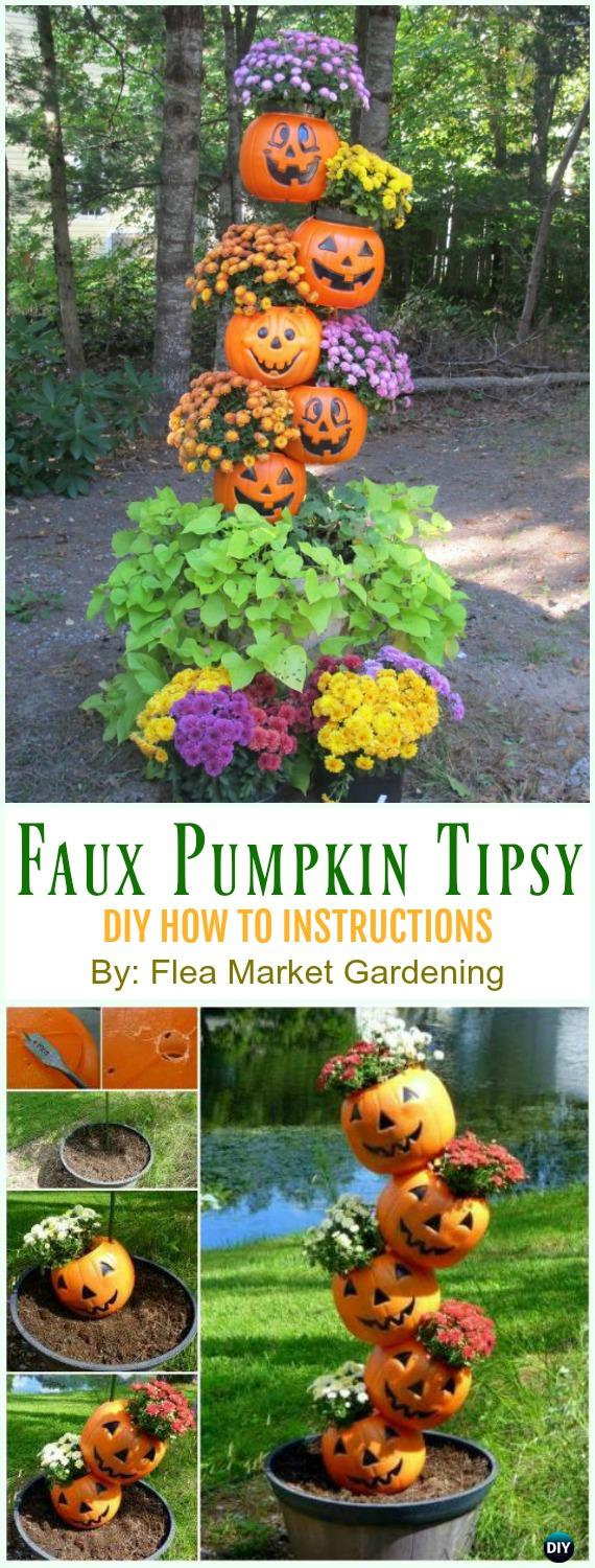 Faux Pumpkin Tipsy Planter DIY Instruction - DIY Tipsy #Vertical Pot Planter DIY Projects & Instructions #Gardening