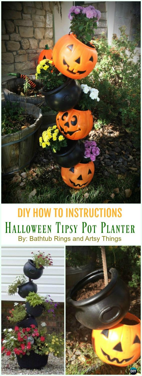 Halloween Tipsy Pot Planter in an Hour DIY Instruction - DIY Tipsy #Vertical Pot Planter DIY Projects & Instructions #Gardening