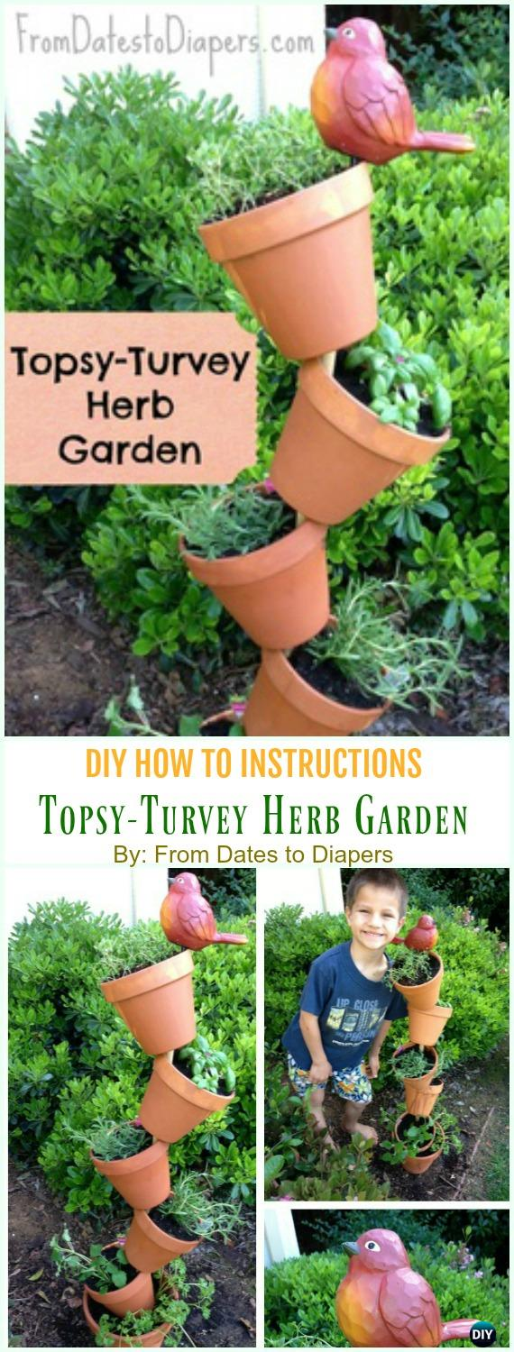 Topsy-Turvey Herb Garden DIY Instruction - DIY Tipsy #Vertical Pot Planter DIY Projects & Instructions #Gardening