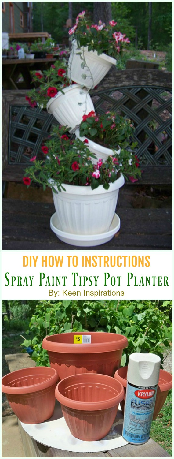 Spray Paint Tipsy Pot Planter DIY Instruction - DIY Tipsy #Vertical Pot Planter DIY Projects & Instructions #Gardening