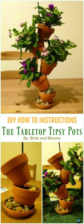 The Tabletop Tipsy Pots DIY Instruction - DIY Tipsy #Vertical Pot Planter DIY Projects & Instructions #Gardening