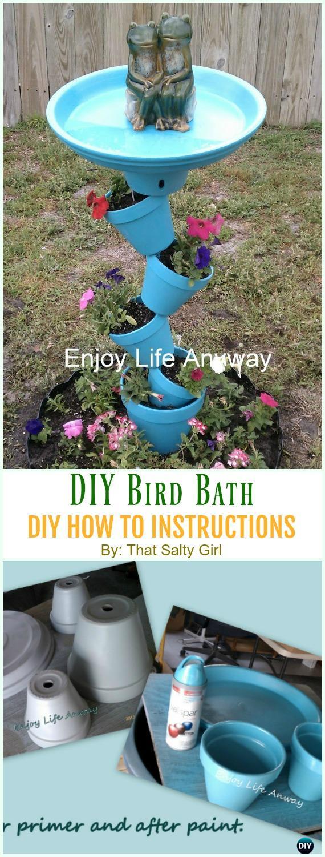 Bird Bath Tipsy Pots DIY Instruction - DIY Tipsy #Vertical Pot Planter DIY Projects & Instructions #Gardening