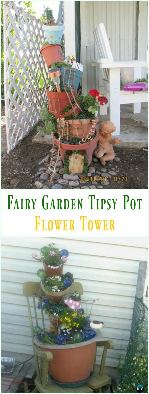 Fairy Garden Tipsy Pot Flower Tower - DIY Tipsy #Vertical Pot Planter DIY Projects & Instructions #Gardening