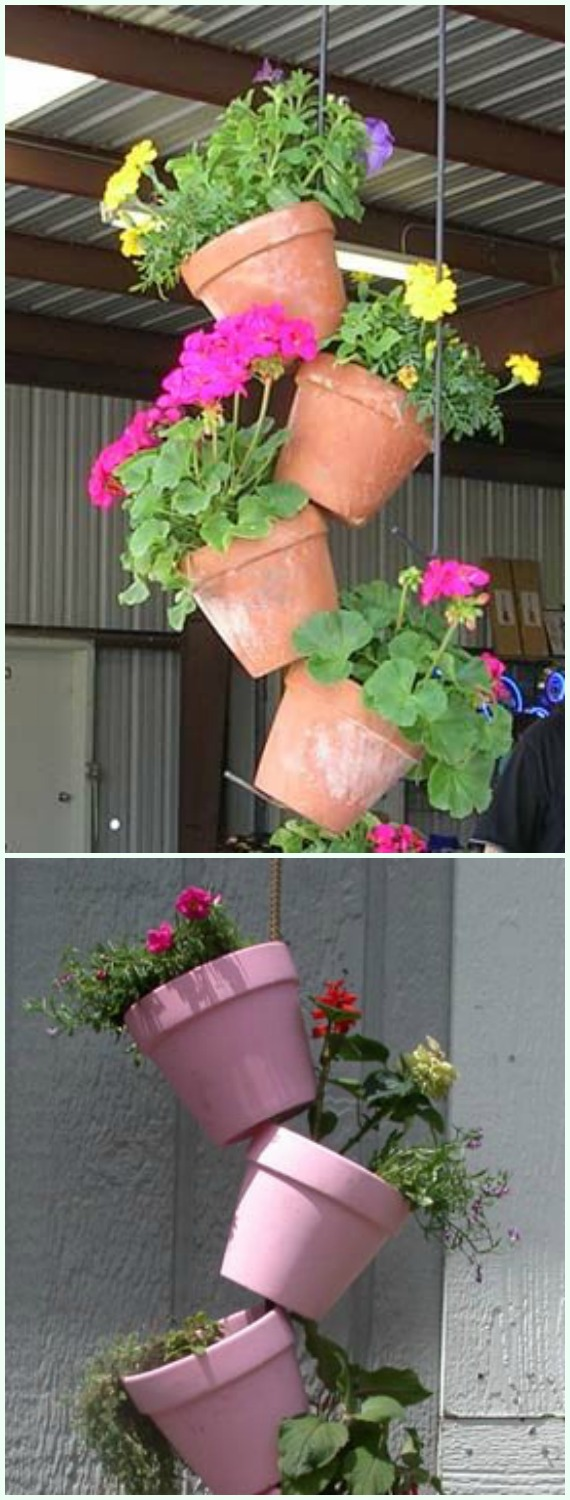 Hanging Tipsy Pot Planters - DIY Tipsy #Vertical Pot Planter DIY Projects & Instructions #Gardening