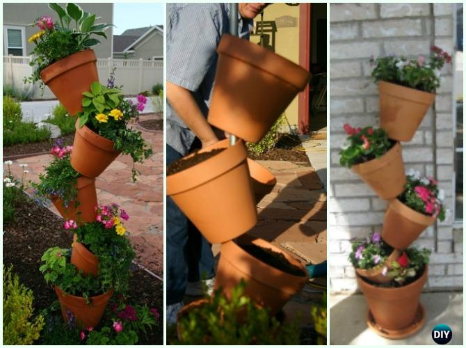 Crooked Pot Planters DIY Instruction - DIY Tipsy #Vertical Pot Planter DIY Projects & Instructions #Gardening