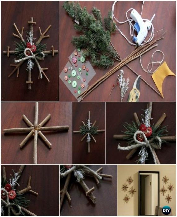 DIY Tree Branch Snowflake Instructions - DIY Snowflake Craft Ideas Projects