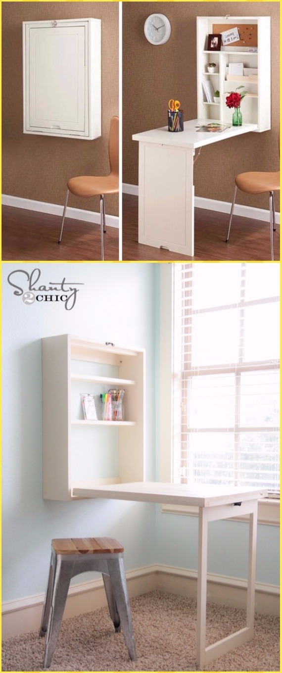 DIY Murphy Desk Tutorial - DIY Wall Mounted Desk Free Plans & Instructions