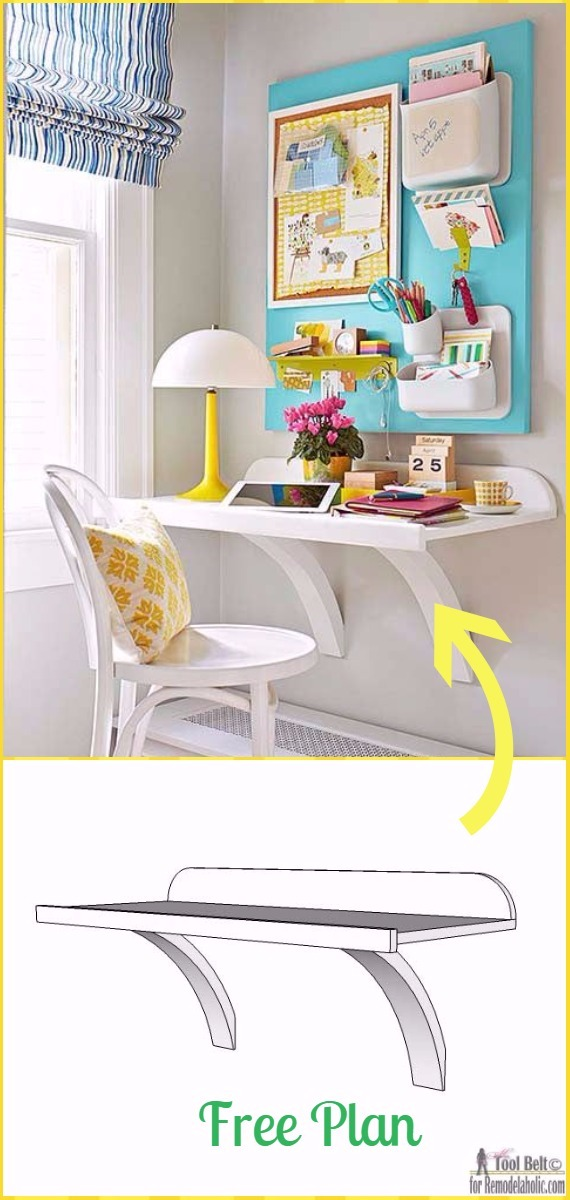 Simple DIY Wall Desk Tutorial - DIY Wall Mounted Desk Free Plans & Instructions