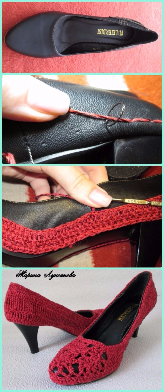 Crochet Leather Heels Free Pattern - DIY Ways Refashion Heels Instructions