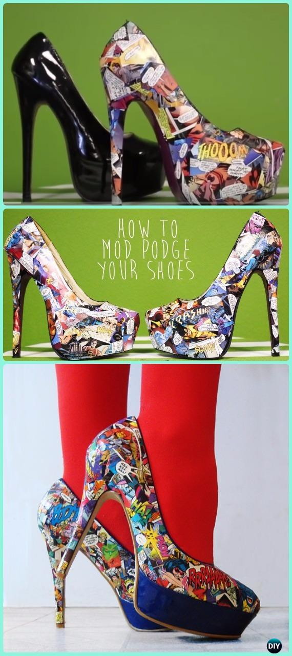 DIY Mod Podge Comic Heels Shoes Instruction - DIY Ways Refashion Heels Tutorials