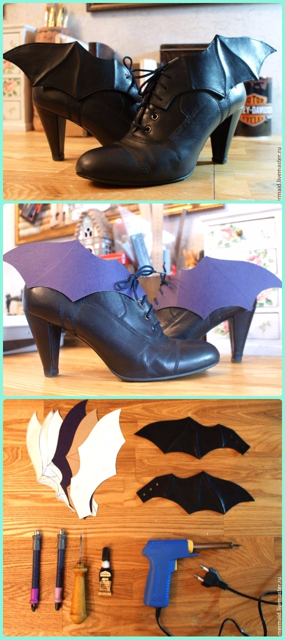DIY Leather Wings Ankle Boots Decor Instruction - DIY Ways Refashion Heels Tutorials
