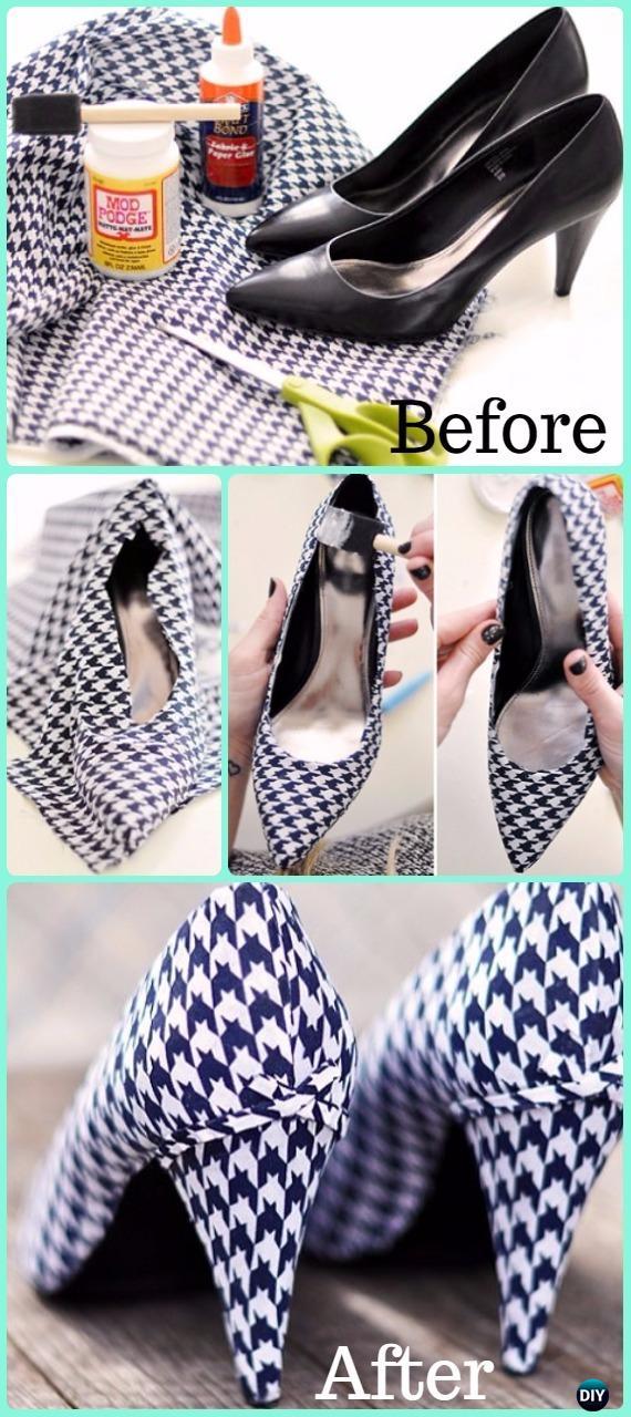 DIY Fabric Lined Heels Makeover Instruction - DIY Ways Refashion Heels Tutorials