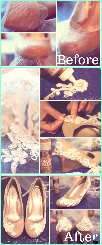 DIY Lace Shoes Makeover Instruction - DIY Ways Refashion Heels Tutorials