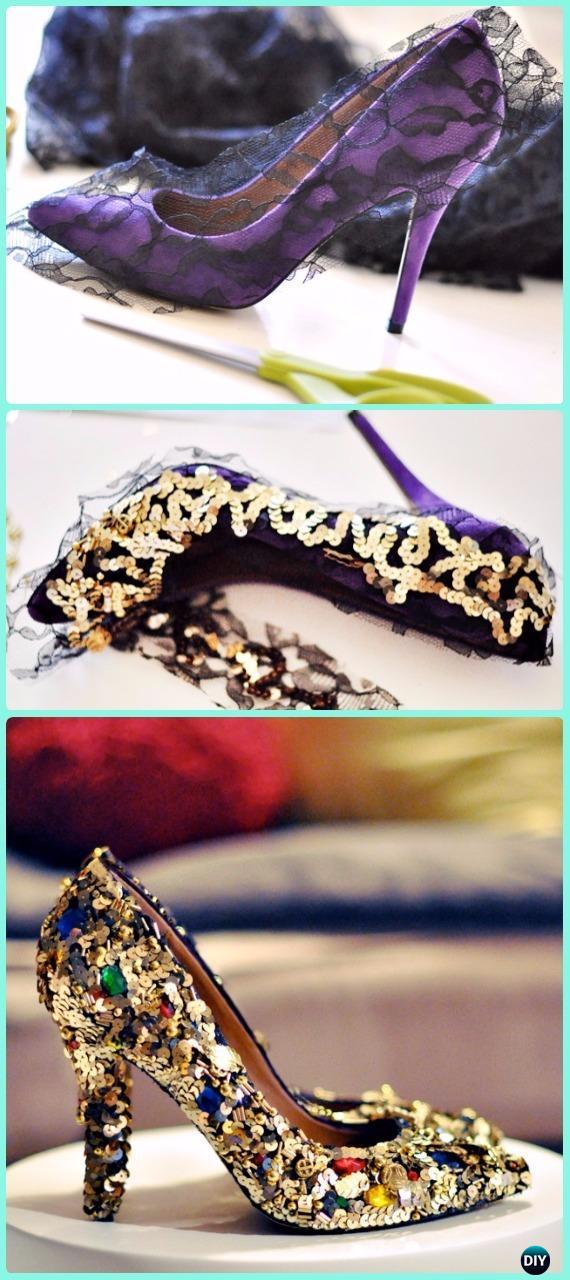 DIY Dolce & Gabbana Inspired Gold Jewel Embellished Shoe Makeover Instruction - DIY Ways Refashion Heels Tutorials