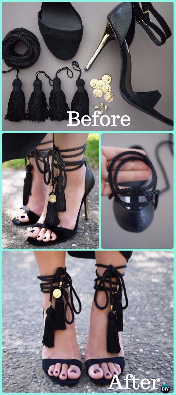 DIY Tassel Sandals Makeover Instruction - DIY Ways Refashion Heels Tutorials