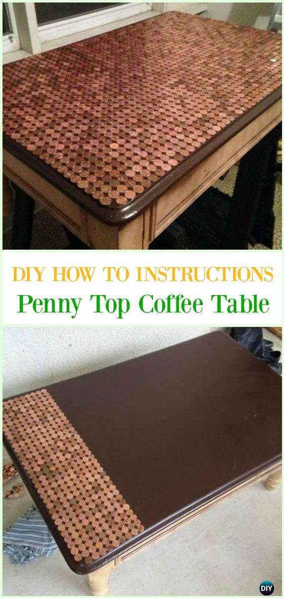 DIY Penny Top Coffee Table Tutorial - Cool DIY Ways to Decorate Home & Garden with Pennies #Recycle; #Penny; #Furniture