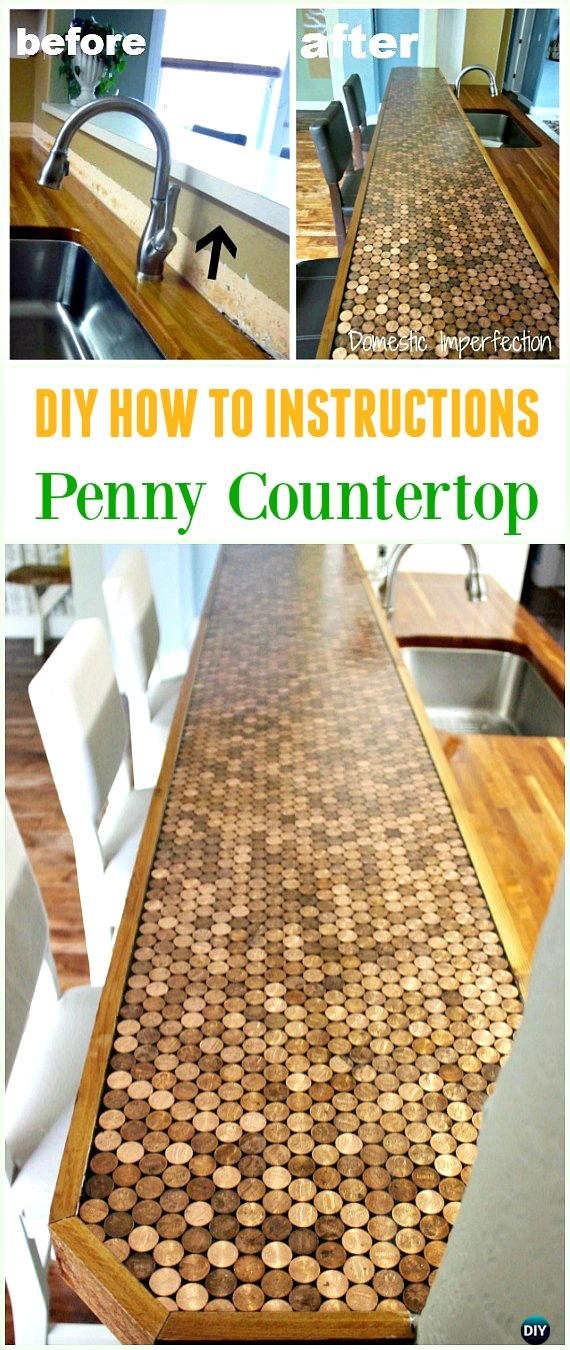 DIY Penny Countertop Tutorial - Cool DIY Ways to Decorate Home & Garden with Pennies #Recycle; #Penny; #HomeDecor