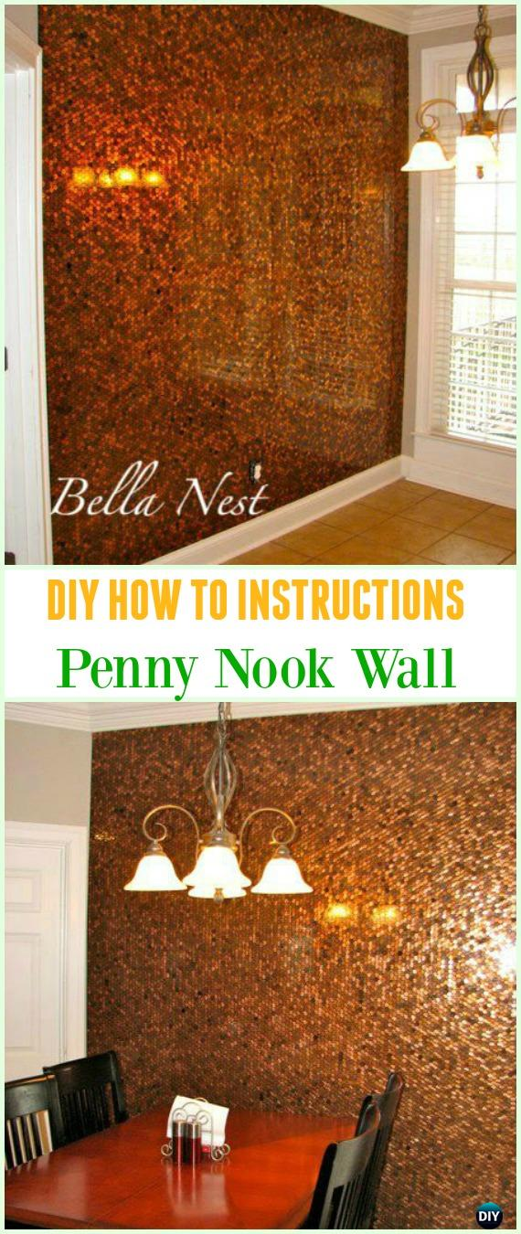 DIY Penny Nook Wall Tutorial - Cool DIY Ways to Decorate Home & Garden with Pennies #Recycle; #Penny; #HomeDecor