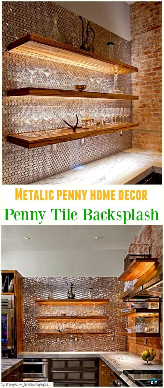 DIY Metallic Penny Tile Back Splash - Cool DIY Ways to Decorate Home & Garden with Pennies #Recycle; #Penny; #HomeDecor