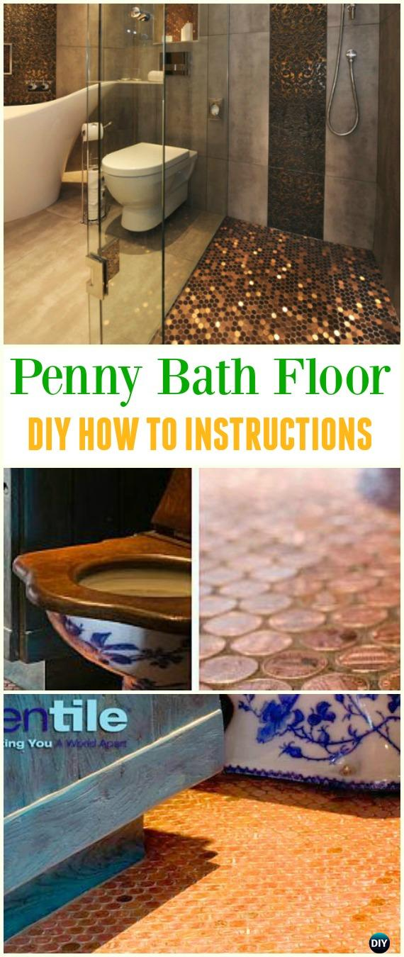 DIY Copper Penny Bath Floor Tutorial - Cool DIY Ways to Decorate Home & Garden with Pennies #Recycle; #Penny; #HomeDecor