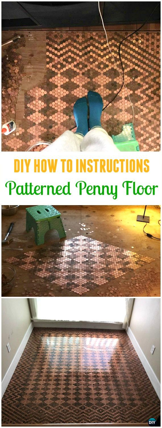 DIY Patterned Penny Floor Tutorial - Cool DIY Ways to Decorate Home & Garden with Pennies #Recycle; #Penny; #HomeDecor