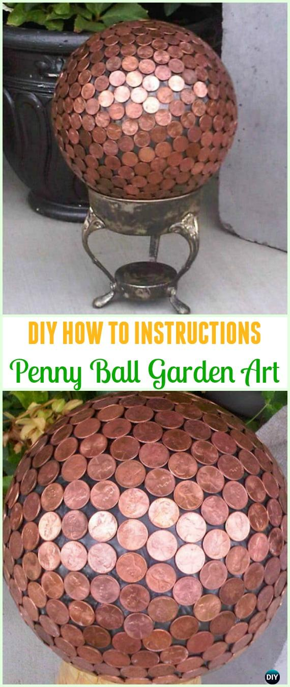 DIY Bowling Ball Garden Art Tutorial - Cool DIY Ways to Decorate Home & Garden with Pennies #Recycle; #Penny; #Garden