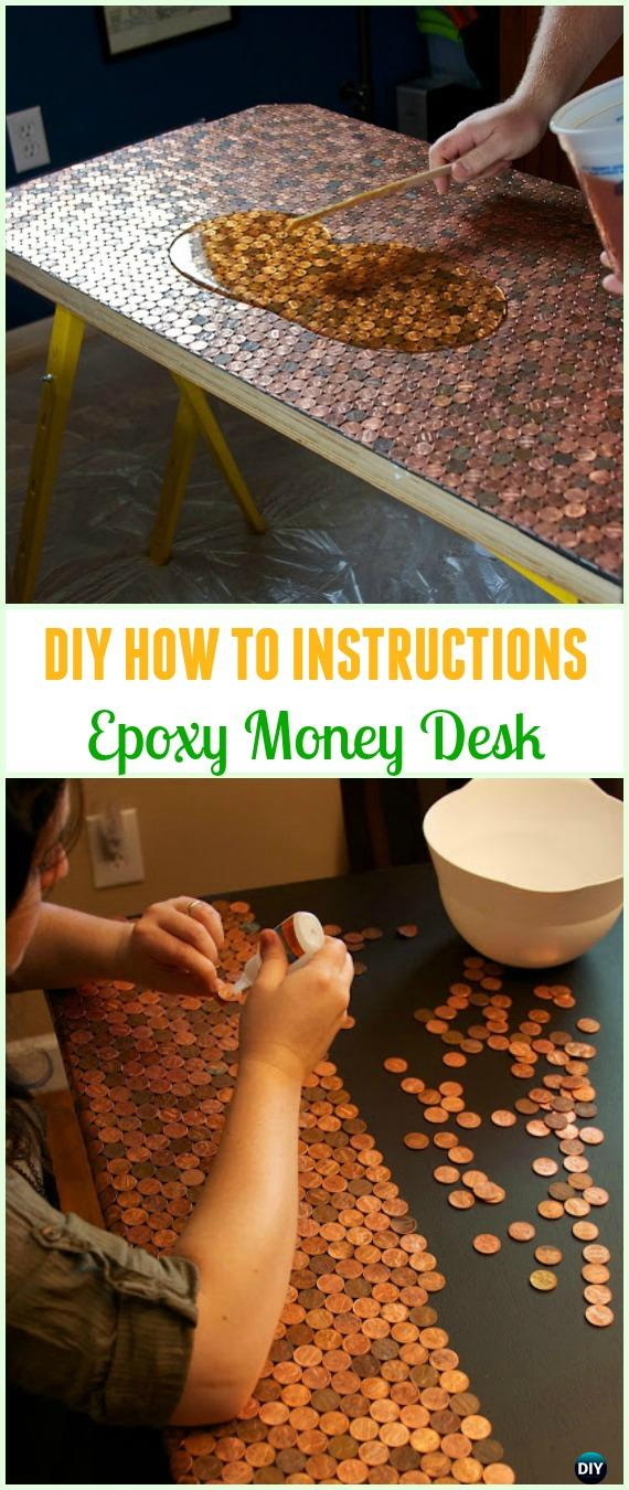 DIY Epoxy Money Desk Tutorial - Cool DIY Ways to Decorate Home & Garden with Pennies #Recycle; #Penny; #HomeDecor