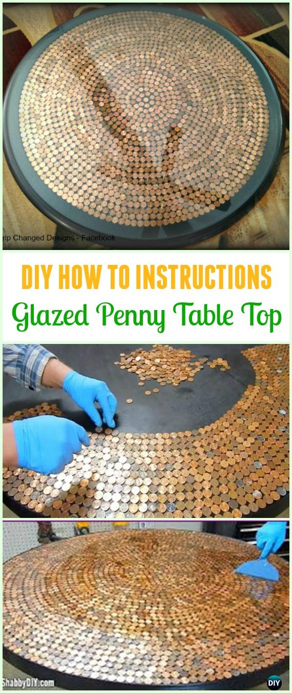 DIY Glazed Penny Table Top Tutorial - Cool DIY Ways to Decorate Home & Garden with Pennies #Recycle; #Penny; #HomeDecor