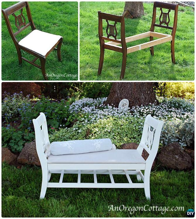 French Style Bench From Old Chairs -- Ways to Repurpose Old Chairs DIY Ideas