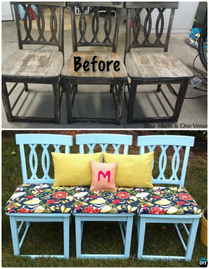 DIY Bench From Old Chairs -- Ways to Repurpose Old Chairs DIY Ideas