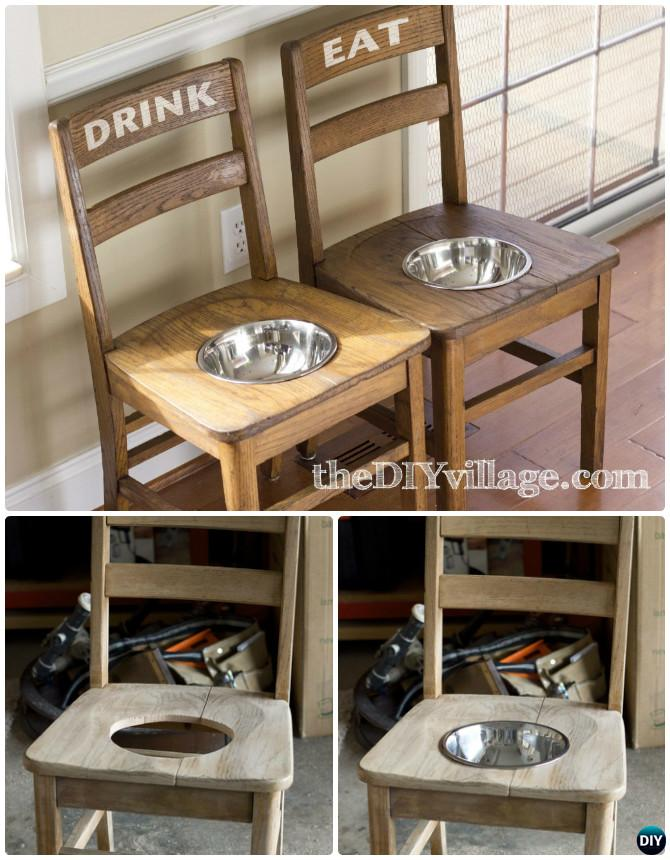 DIY Dog Feeder Station From Old Chairs -- Ways to Repurpose Old Chairs DIY Ideas