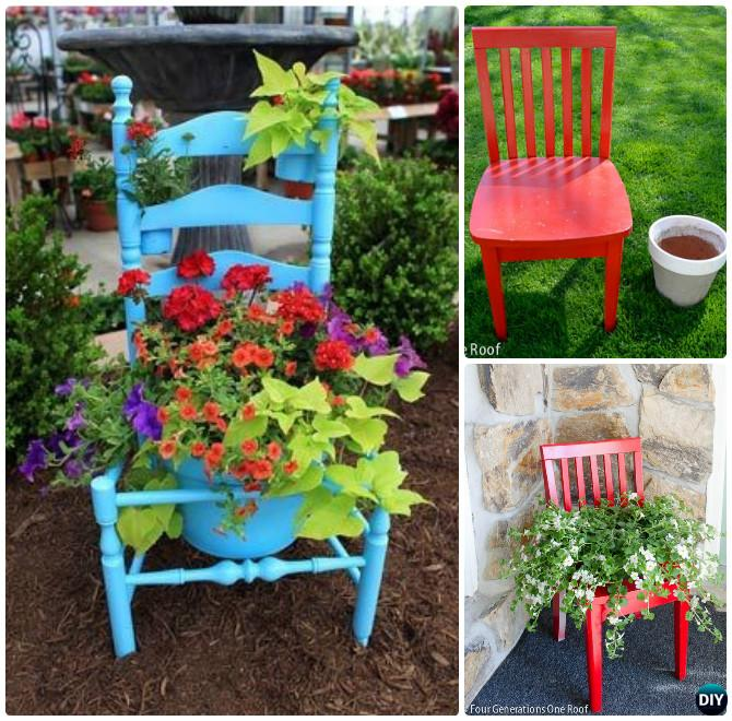 DIY Recycled Chair Planter Shelf Instruction-- Ways to Repurpose Old Chairs DIY Ideas
