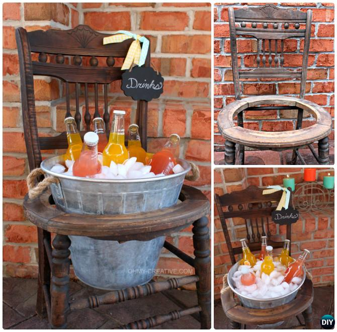 DIY Recycled Chair Drink Stand Instruction-- Ways to Repurpose Old Chairs DIY Ideas