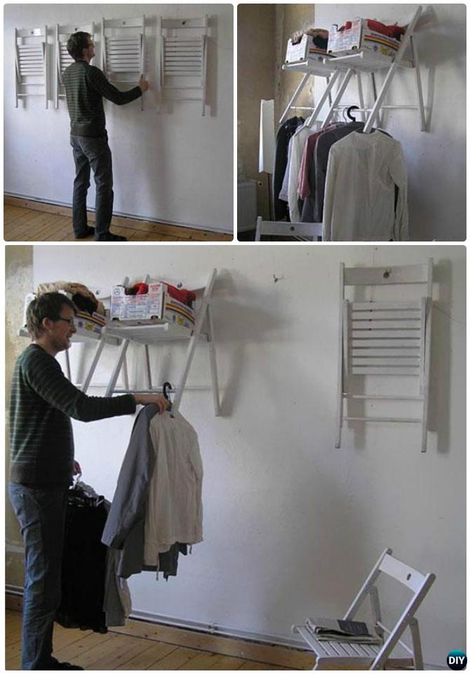 DIY Wall Mounted Folding Chair Laundry Rack-- Ways to Repurpose Old Chairs DIY Ideas