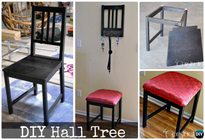 DIY Recycled Chair Hall Tree Instruction-- Ways to Repurpose Old Chairs DIY Ideas